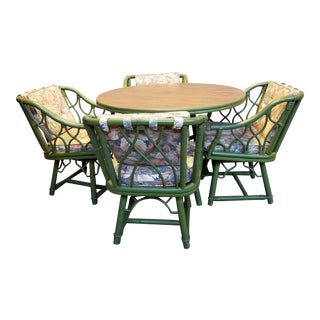 Mid-Century Chippendale Ficks Reed Rattan Dining Set - 5 Pieces For Sale