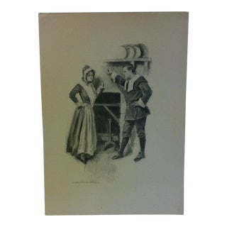 "Vintage Miles Standish Print ""The Discussion"" by Howard Christy 1903 For Sale"