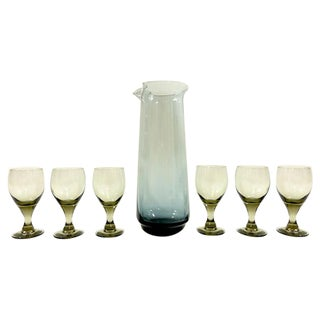 Mid-Century Cordial Carafe and Glasses For Sale