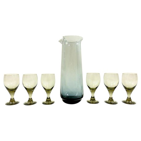 Mid-Century Cordial Carafe and Glasses - Image 1 of 8