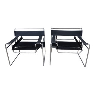 Vintage Mid Century Knoll International by Marcel Breuer Wassilly Chrome & Leather Chairs- A Pair For Sale