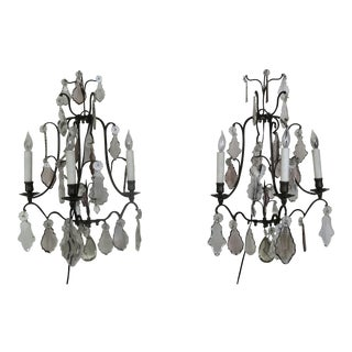 Pair of French 3-Light Crystal Sconces For Sale
