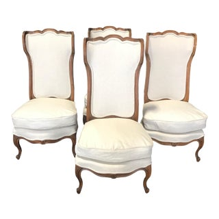 19th Century Curvy Elegant French Louis XVI Style Wingback Bergères -Set of 4 For Sale