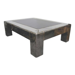 Midcentury Gunmetal and Smoked Glass Karl Springer Coffee Table For Sale