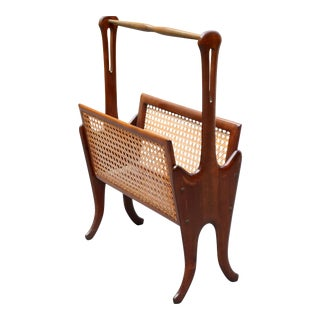 Vintage Carved Wood and Cane Magazine Rack For Sale