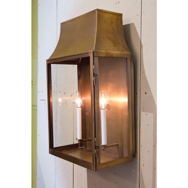 """Contemporary Custom """"Guadalupe"""" Indoor/Outdoor Brass Wall Lantern For Sale - Image 3 of 3"""