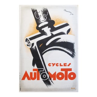 1930 French Art Deco Bicycle Poster, Cycles Automoto