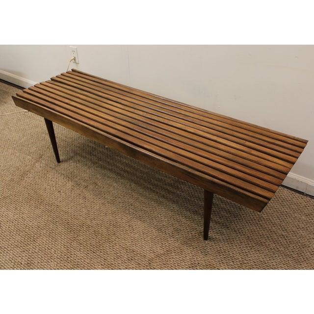 Mid-Century Danish Modern Walnut Slat Bench Coffee Table - Image 3 of 10