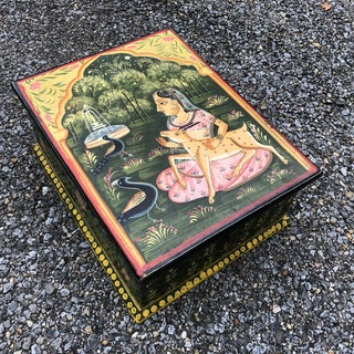 Antique Indian Asian Folk Art Paint Decorated Wood Box Preview