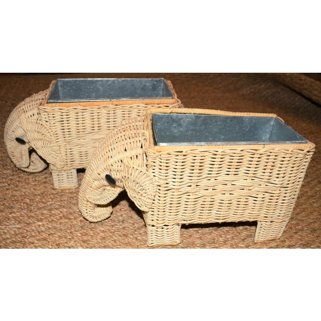 Boho Chic Wicker Elephant Basket Planters - a Pair For Sale - Image 9 of 12