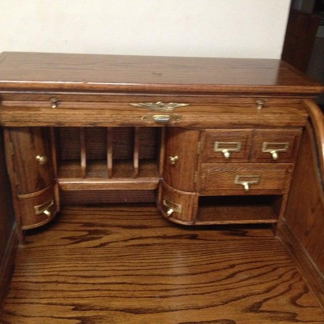 Eagle Craft Oak Roll Top Secretary Desk For Sale - Image 5 of 11