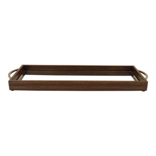 Mid-Century Modern Style Zebra Wood and Mirror Tray For Sale