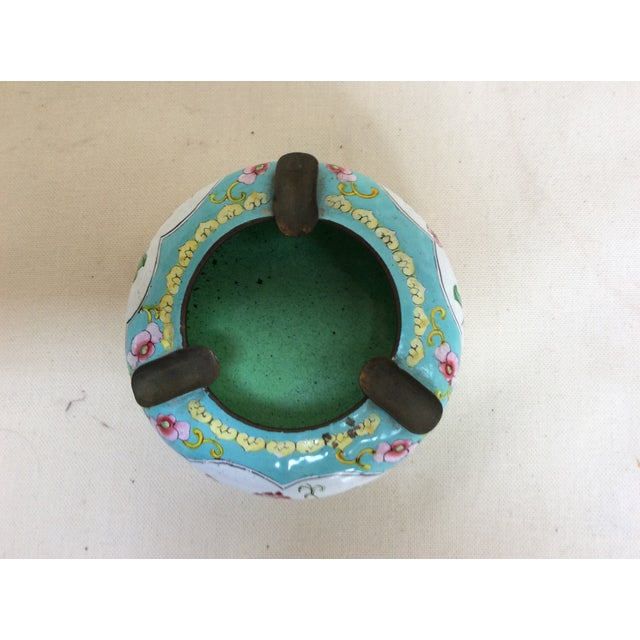 Canton Enamel Floral Ashtray For Sale - Image 4 of 8