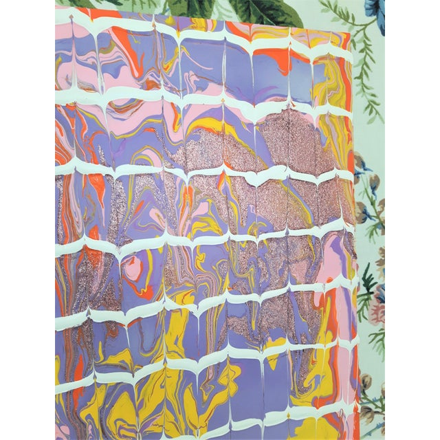 "2010s Frances Sousa ""Nanaimo"" Contemporary Abstract Floral Acrylic on Vintage Textile For Sale - Image 5 of 11"