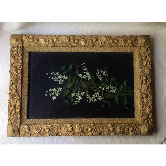 1900s Antique Oil Botanical Painting of Flowering Jasmine For Sale - Image 5 of 7