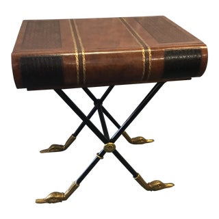 Traditional Maitland Smith Book End Table w/ Duck Head Feet For Sale