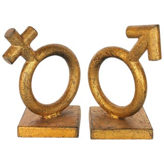 Mid-Century Gold Leaf Cast Iron Bookends by Curtis Jere - a Pair For Sale