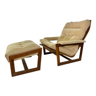Mid-Century Modern Bentwood Thonet Style Lounge Chair & Ottoman For Sale