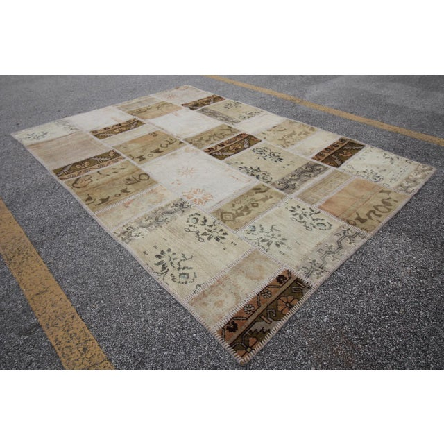 Vintage Turkish Patchwork Oushak Rug - 5′10″ × 8′5″ - Image 3 of 6