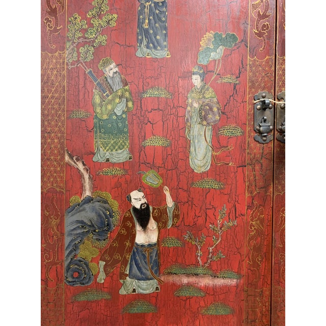 20th Century Chinoiserie Red Lacquered Bureau Bookcase For Sale - Image 9 of 13