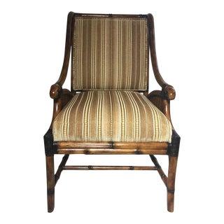 Modern Cane Rattan and Velvet Upholstered Chair For Sale
