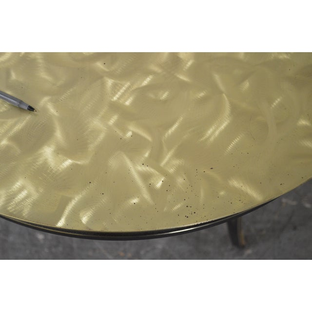 Studio Custom Crafted Pair of Brushed Steel Gold Finish Round Side Tables - Image 8 of 10