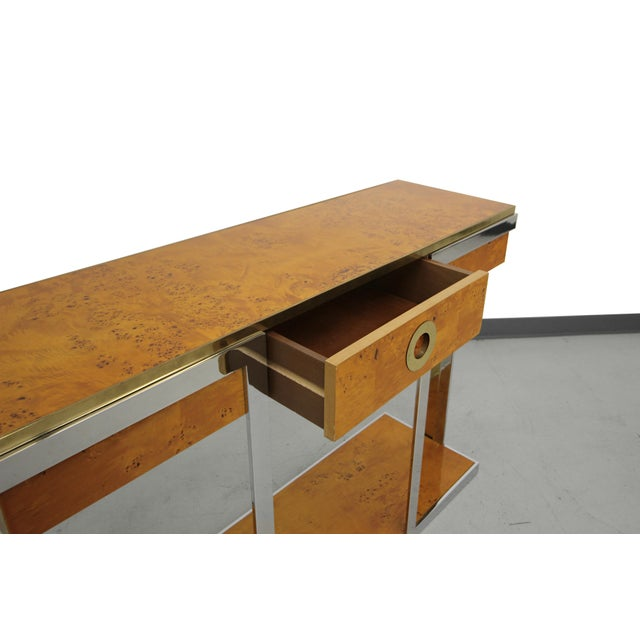 Willy Rizzo Mid-Century Italian Burl Wood Console - Image 5 of 8