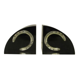 Mid-Century Modern Lucite Thorobred Queen's Plate #3 Horseshoe Bookends - a PAir For Sale