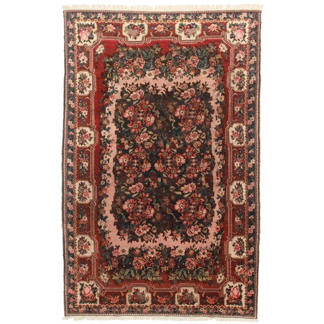 Vintage Hand Knotted Persian Baktiari Rug - 7′ × 10′11″ For Sale