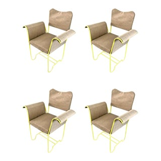 "Mathieu Mategot Rare Set of 4 Arm Chairs Model ""Tropiques"""