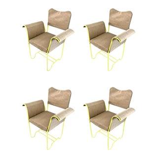 "Mathieu Mategot Rare Set of 4 Arm Chairs Model ""Tropiques"" For Sale"