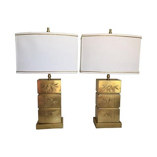 Brass Bamboo Lamps & Shades - a Pair For Sale