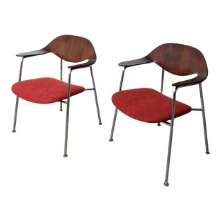 1960s Vintage Mulhauser Style Plycraft Walnut Bentwood & Tubular Steel Armchairs - a Pair For Sale