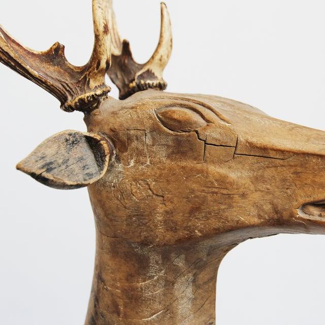 Antique Javanese Wooden Deer For Sale - Image 4 of 5