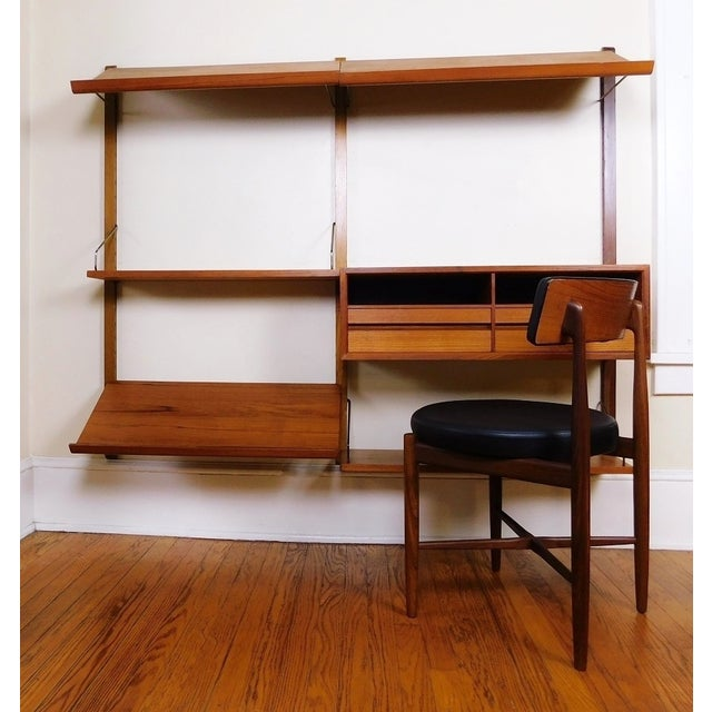 Brown Danish Modern Teak Floating Adjustable Desk Wall Unit Bookcase by Carlo Jensen for Hundevad & Co For Sale - Image 8 of 9