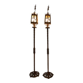 1920s Art Deco Bronze Oscar Back Torcheres - a Pair For Sale