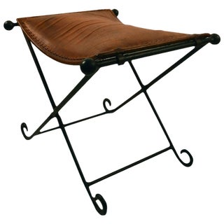 Leather and Iron X-Form Stool For Sale