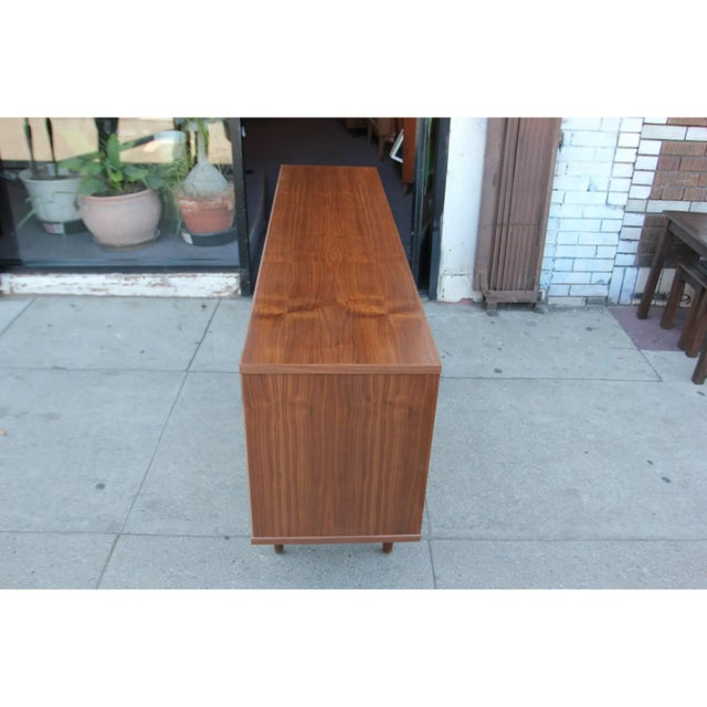 Mid-Century Modern Mid-Century Modern Walnut Credenza with Blue and Orange Accents For Sale - Image 3 of 9
