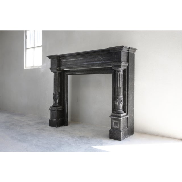 Belgian Antique Fireplace - Belgian Bluestone - Neoclassical Style - 19th Century For Sale - Image 3 of 5