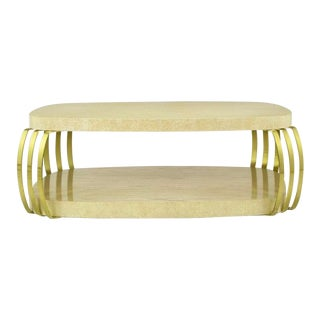 Henredon Cerused Oak & Brass Bar Postmodern Coffee Table For Sale
