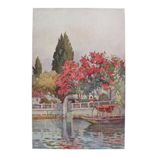 1905 Original Italian Print - Italian Travel Colour Plate - a Garden by the Lake, Lago d'Orta For Sale