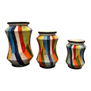 2019 Sicilian Hand Painted Unique Sicilian Terracotta Albarello Vases - Set of Three For Sale