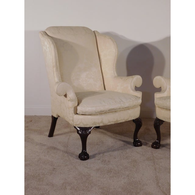 Wood Kindel Winterthur Mahogany & Yellow Damask Easy Wingback Fireside Chairs - a Pair For Sale - Image 7 of 13