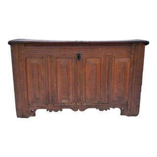 17th Century Carved Wood Trunk For Sale