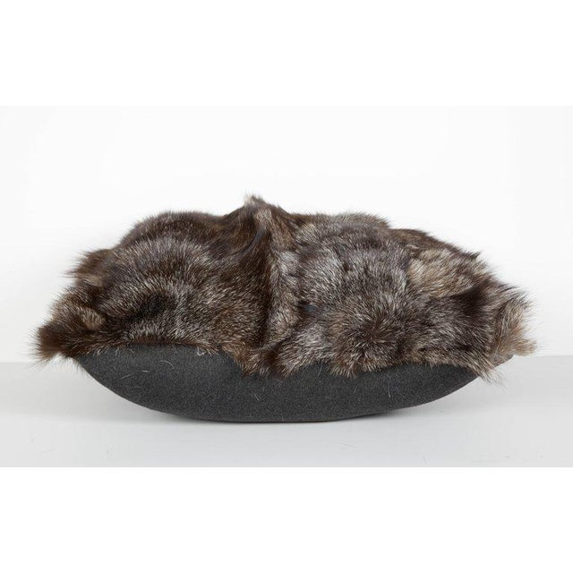 2010s Genuine Fox Fur Luxury Throw Pillows in Variant Hues of Gray For Sale - Image 5 of 6