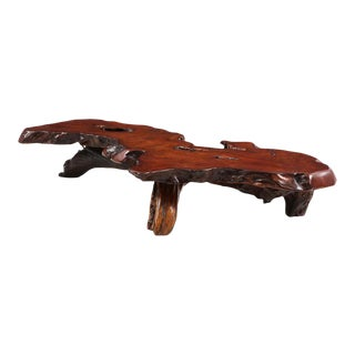 Oversize Redwood Coffee Table For Sale