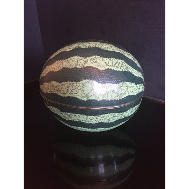 Early 20th Century Antique Chinese Cloisonné Watermelon Melon Box For Sale - Image 11 of 11