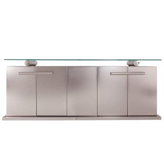 Belgo Chrom Sideboard With Floating Glass in Brushed Stainless Steel For Sale