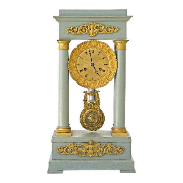 Mid 19th Century French Empire Portico Gridiron Mantle Clock For Sale