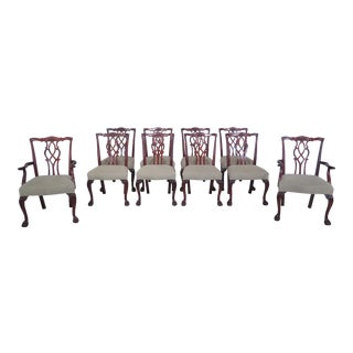 Kindel Clawfoot Chippendale Mahogany Dining Chairs - Set of 10